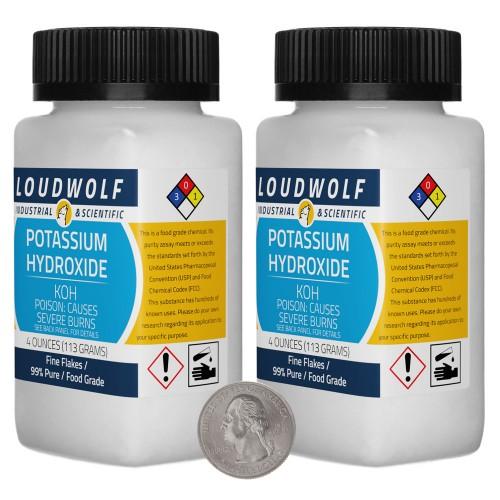 Potassium Hydroxide - 8 Ounces in 2 Bottles