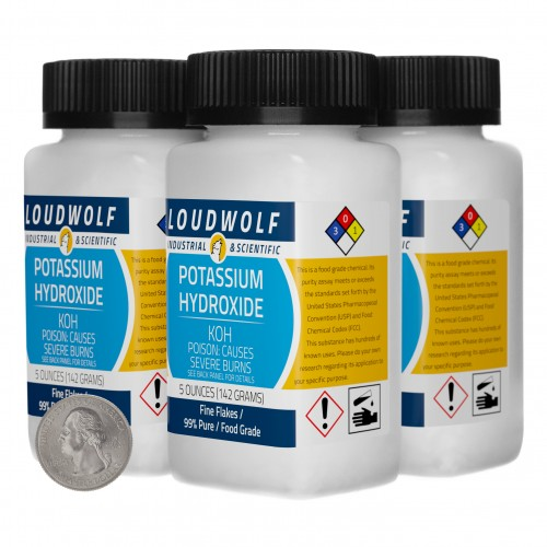 Potassium Hydroxide - 1.3 Pounds in 4 Bottles