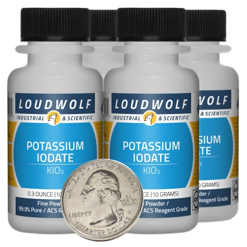 Potassium Iodate - 1.4 Ounces in 4 Bottles