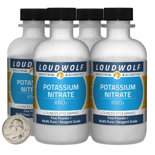 Potassium Nitrate - 1 Pound in 4 Bottles
