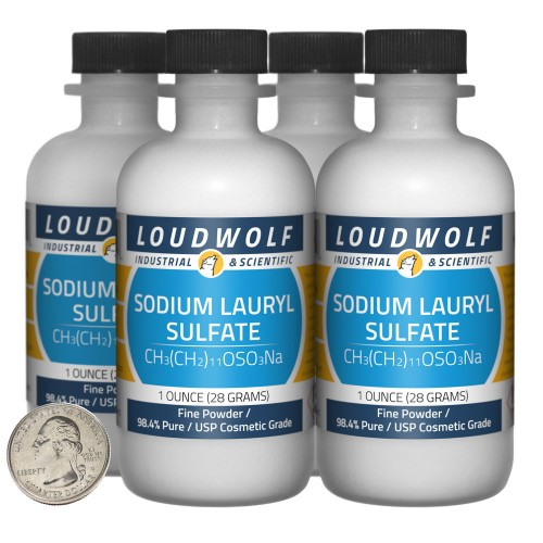 Sodium Lauryl Sulfate - 4 Ounces in 4 Bottles