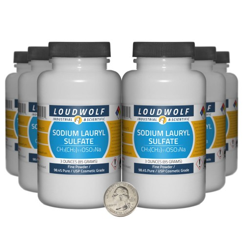 Sodium Lauryl Sulfate - 1.1 Pounds in 6 Bottles