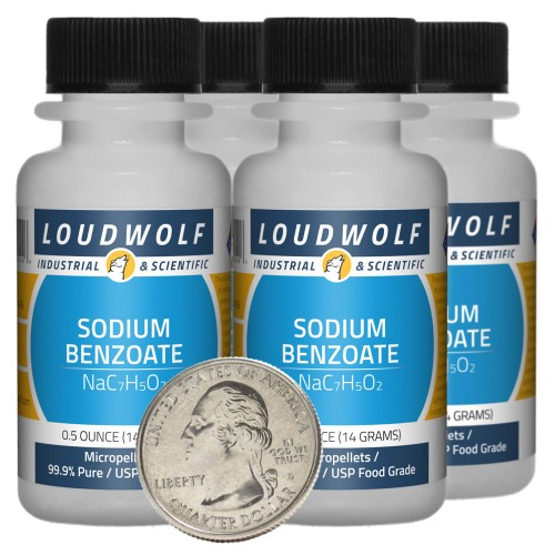 Sodium Benzoate - 2 Ounces in 4 Bottles
