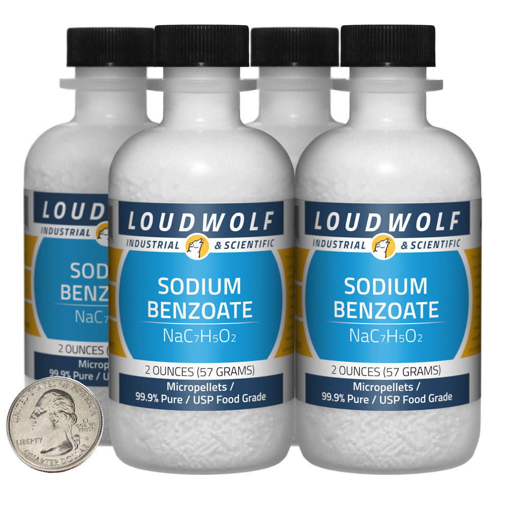 Sodium Benzoate - 8 Ounces in 4 Bottles