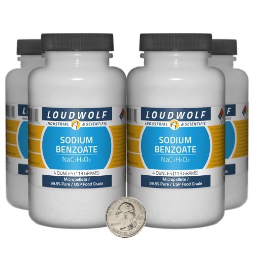 Sodium Benzoate - 1 Pound in 4 Bottles