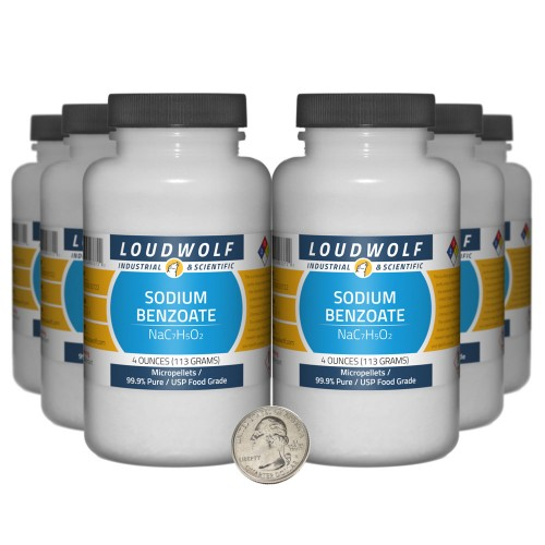 Sodium Benzoate - 1.5 Pounds in 6 Bottles