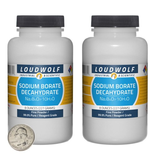 Sodium Borate Decahydrate - 1 Pound in 2 Bottles