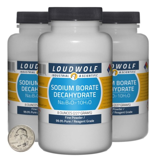 Sodium Borate Decahydrate - 1.5 Pounds in 3 Bottles