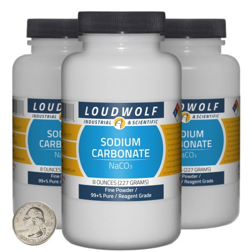 Sodium Carbonate - 1.5 Pounds in 3 Bottles
