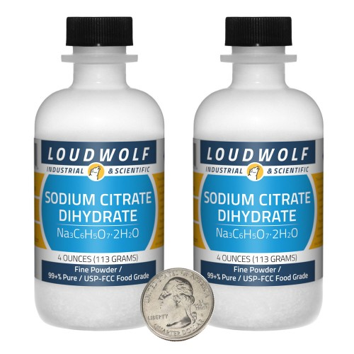 Sodium Citrate Dihydrate - 8 Ounces in 2 Bottles
