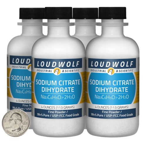 Sodium Citrate Dihydrate - 1 Pound in 4 Bottles