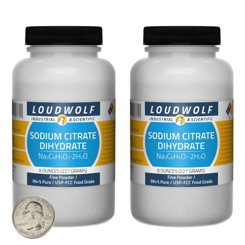 Sodium Citrate Dihydrate - 1 Pound in 2 Bottles