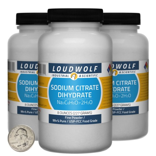 Sodium Citrate Dihydrate - 1.5 Pounds in 3 Bottles