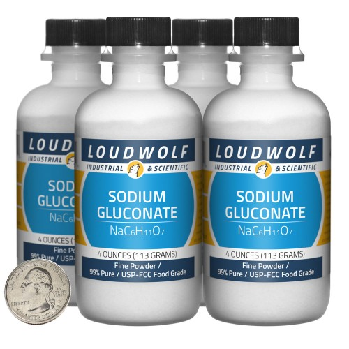 Sodium Gluconate - 1 Pound in 4 Bottles