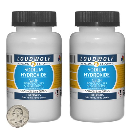 Sodium Hydroxide - 1.3 Pounds in 2 Bottles