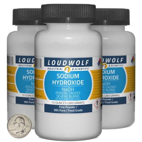 Sodium Hydroxide - 1.9 Pounds in 3 Bottles