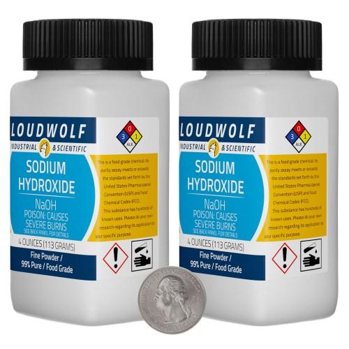 Sodium Hydroxide - 8 Ounces in 2 Bottles
