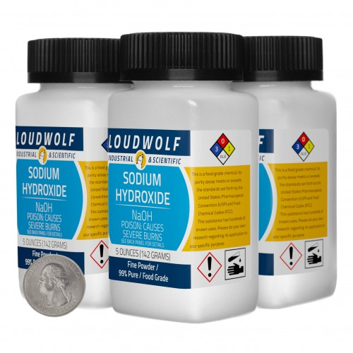 Sodium Hydroxide - 1.3 Pounds in 4 Bottles