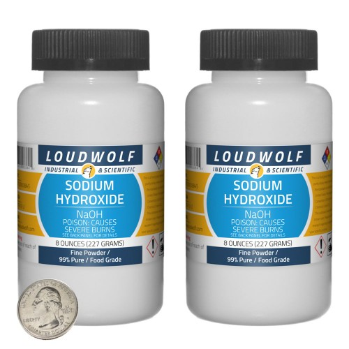 Sodium Hydroxide - 1 Pound in 2 Bottles