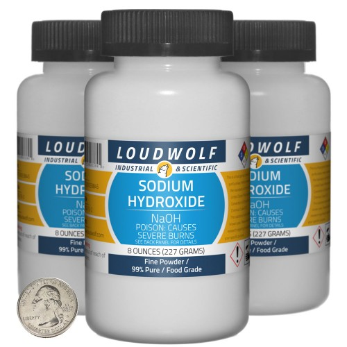 Sodium Hydroxide - 1.5 Pounds in 3 Bottles