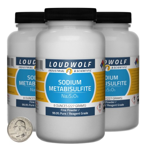 Sodium Metabisulfite - 1.5 Pounds in 3 Bottles