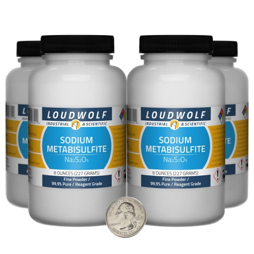 Sodium Metabisulfite - 2 Pounds in 4 Bottles