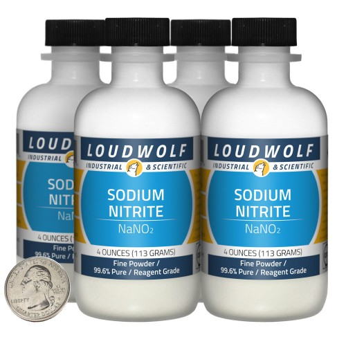 Sodium Nitrite - 1 Pound in 4 Bottles