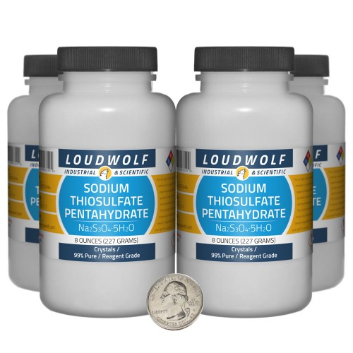 Sodium Thiosulfate Pentahydrate - 2 Pounds in 4 Bottles