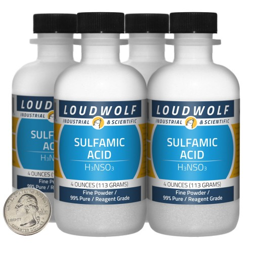 Sulfamic Acid  - 1 Pound in 4 Bottles