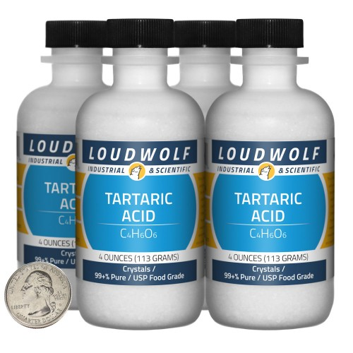 Tartaric Acid - 1 Pound in 4 Bottles